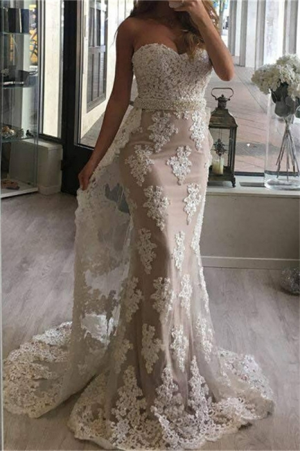 2018 Tulle Appliques Pearl Prom Dresses Mermaid Beaded Sweetheart with Train