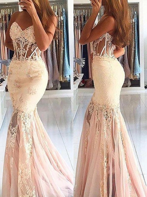 Sexy Sheer Mermaid Prom Dresses | Pink Sweetheart Neckline Evening Gowns