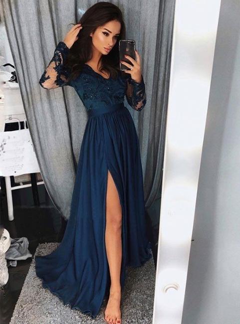 Elegant Long Sleeves A-Line Evening Dresses | V-Neck Lace Appliques Side Slit Long Prom Dresses