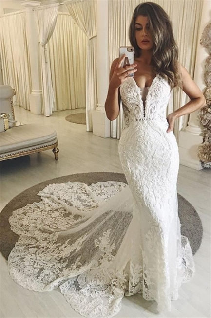 Lace Mermaid Wedding Dresses | Straps Fitted Bridal Gowns with Sweep Train
