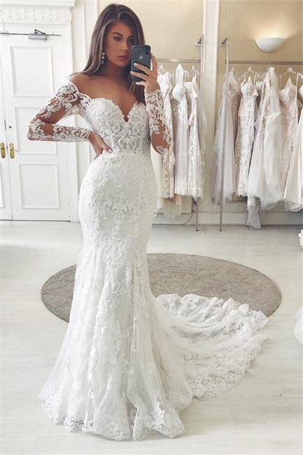 Fitted Lace Wedding Dresses Cheap | Sweetheart Bridal Gowns with Sleeves