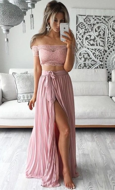 Two Piece Prom Dresses Lace Top Off the Shoulder Short Sleeves  Sexy Evening Gowns