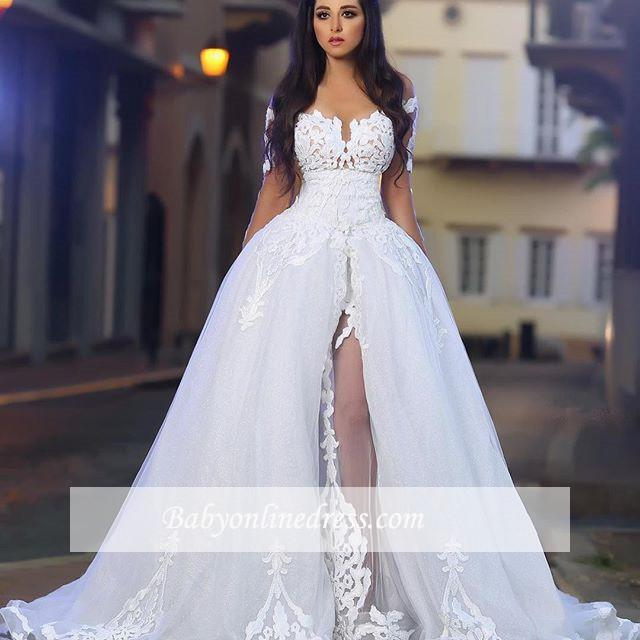 Long Sleeves A-Line Appliques White Elegant Wedding Dresses with Overskirt