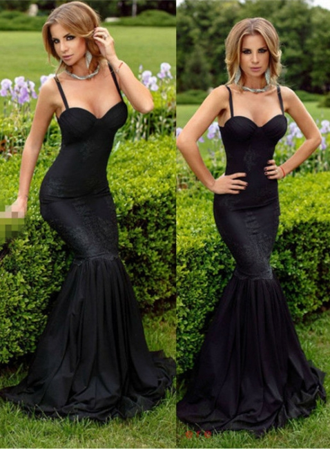Alluring Black Sweetheart Mermaid Prom Dresses Spaghetti-Straps Lace Evening Dress
