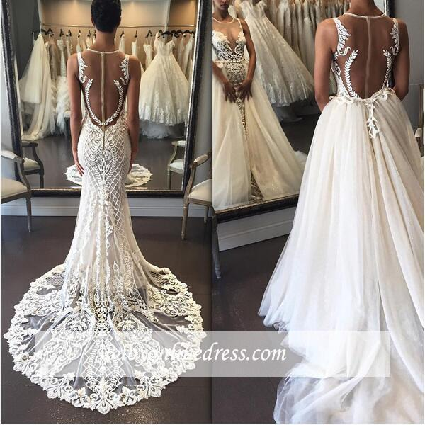 Delicate Lace Detachable-Train Sleeveless Illusion Wedding Dress with Zipper