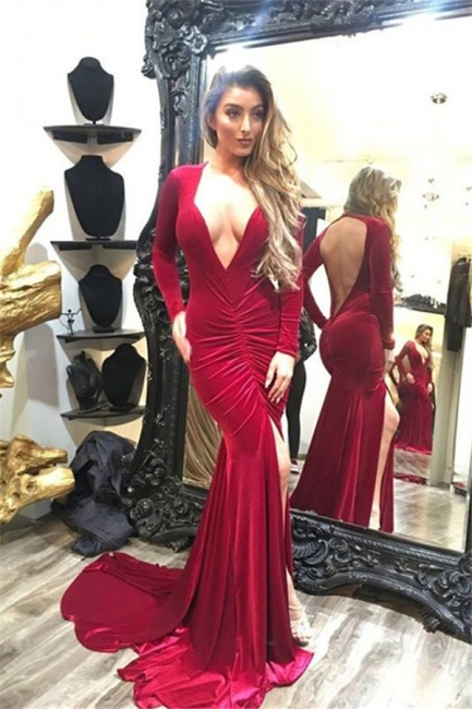 Deep V-neck Long Sleeves Backless Sweep-train Split Mermaid Prom Dresses