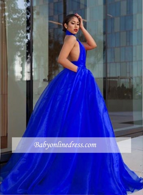 Tulle Royal-Blue High-Neck Evening Dress