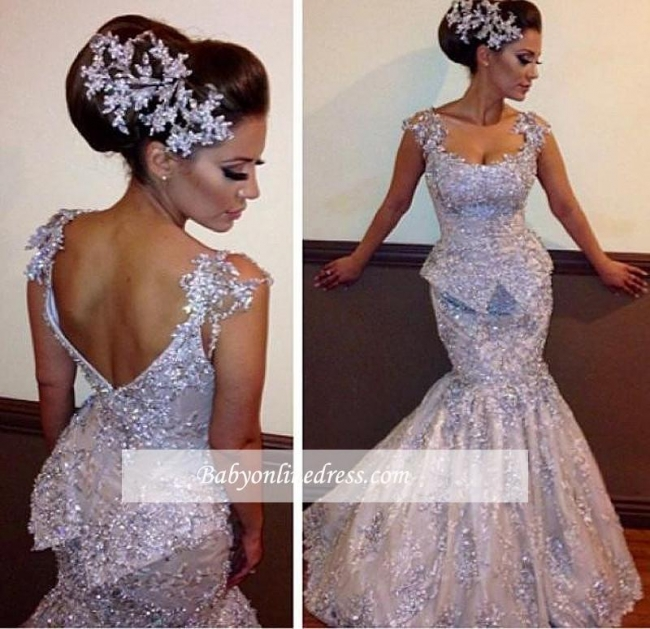 Open-Back Mermaid Sleeveless Appliques Sparkly Amazing Sequins Evening Dresses