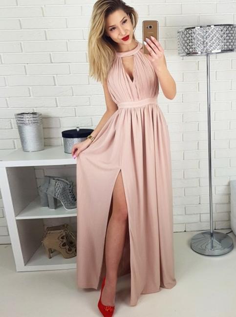 Simple Pink A-line Evening Gowns | Halter Neck Ruched Slit Formal Dresses