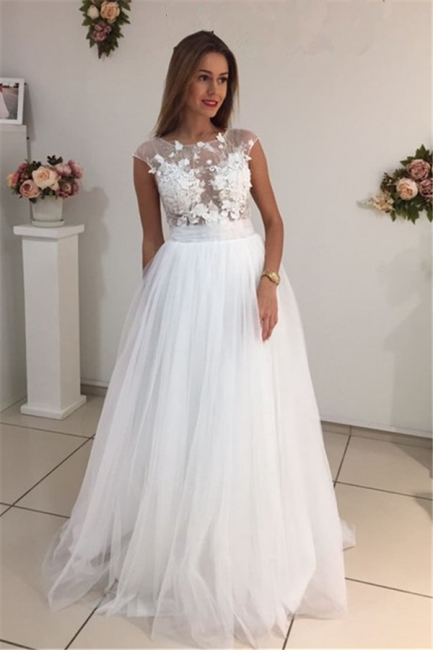 Cap Sleeves A-Line Tulle Gorgeous Appliques White Wedding Dresses
