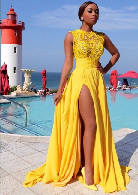 Yellow Chiffon Prom Dresses Thigh-High Slit Sexy Summer Evening Gowns