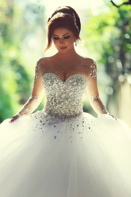Sweetheart Crystals Ball Gown Wedding Dresses Sheer Long Sleeves Bridal Gowns