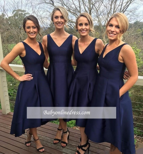 Sleeveless V-neck High-low Dark-Navy A-line Birdesmaid Dresses
