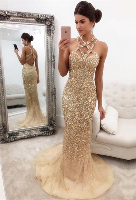 Mermaid Zipper-Back Crystals Gorgeous Halter Sleeveless Prom Dress