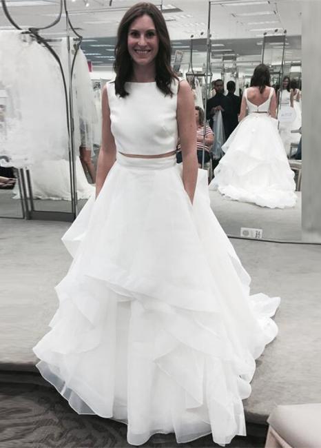 White Two Piece Jewel A-line Bridal Gowns Sleeveless Ruffles Wedding Dress