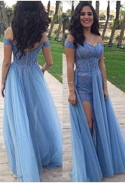 Side Split Long Prom Dresses Off the Shoulder Blue Sexy Evening Gowns