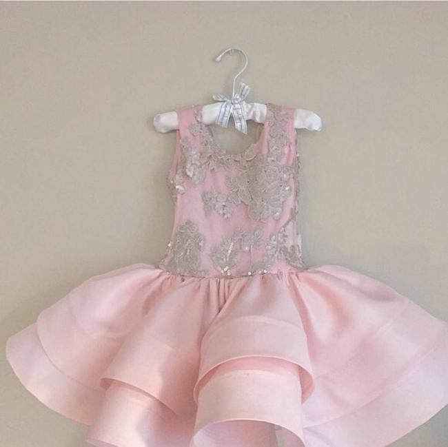 Pink Short Ruffles Skirt with Bowknot Flower Girl's Dresses