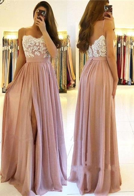 Elegant Side-Slit A-Line Evening Dresses | Spaghetti Straps Lace Appliques Long Prom Dresses