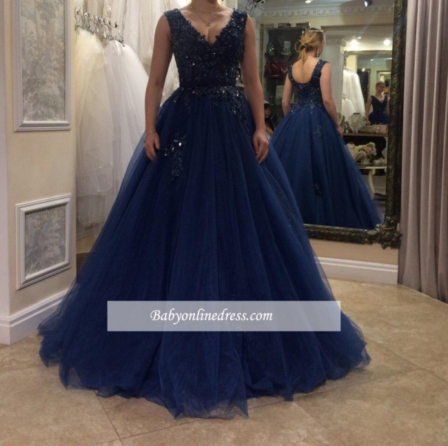 Beading Tulle Applique A-line V-neck Floor-length Evening Dress