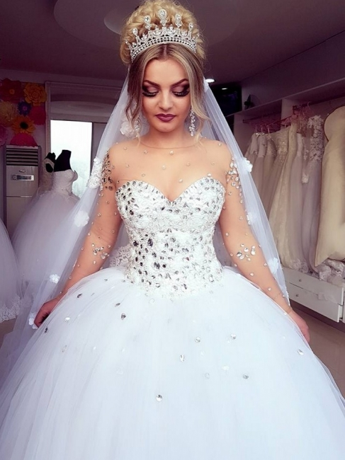 Jewel Long-Sleeves Ball-Gown Crystals Brilliant Wedding Dresses