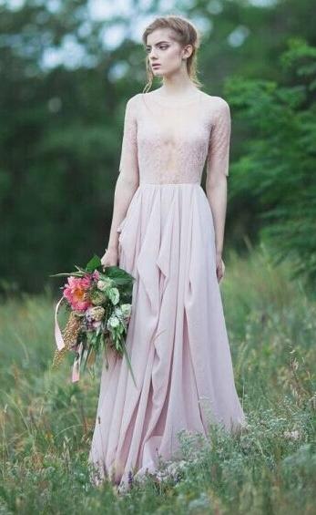 Sheer Lace Chiffon Bridesmaid Dresses Half Long Sleeves Ruffles Long Maid of Honor Dresses