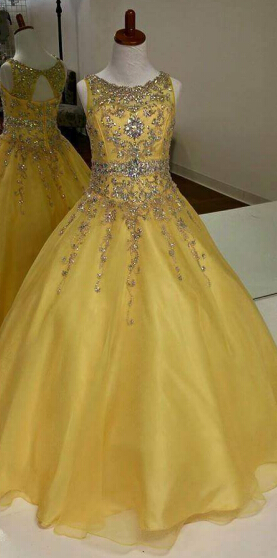 Glamorous A-Line Organza Flower Girl Dresses Crystal Floor Length Party Dresses