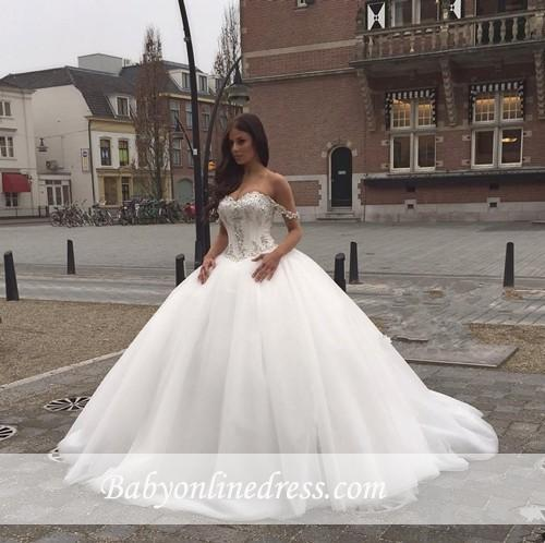 Off-the-Shoulder Ball Gown Sweetheart Neck Wedding Dresses with Beadings