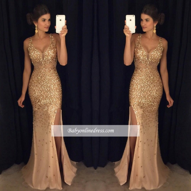 2018 Gorgeous Mermaid Front-Split Sleeveless Crystals Straps Long Prom Dress BA4376