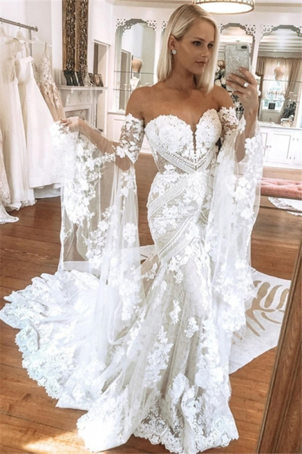 Bell Sleeves Lace Wedding Dresses | Sweetheart Mermaid Bridal Gowns