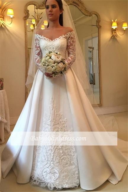 Off-the-Shoulder Newest A-Line Detachable-Train Long-Sleeves Wedding Dresses