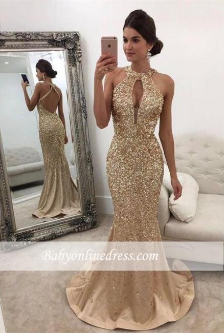 Halter Sleeveless Backless Sweep-train Sequins Mermaid Evening Dresses