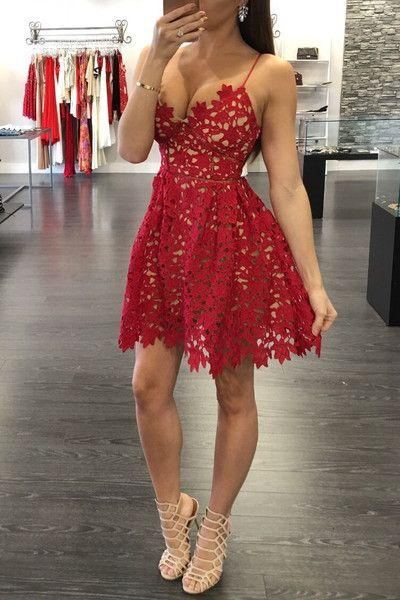 Sexy A-Line Red Lace Homecoming Dresses Spaghetti Straps Party Gowns