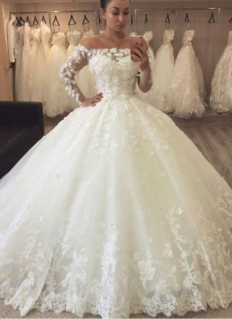 Chic Flowers Ball Gown Wedding Dresses | Off-the-Shoulder Bridal Gowns