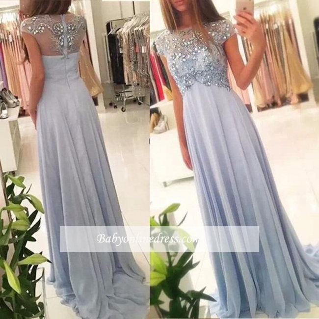 Sparkly Beading Elegant Blue Long Cap-Sleeve Crystals Chiffon Empired Prom Dresses