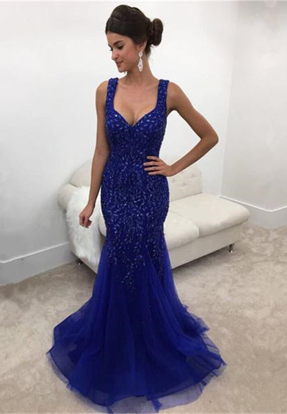 Elegant Straps Mermaid Prom Gowns Sleeveless Long Crystals Royal-Blue Evening Dress
