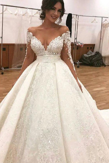Sexy Bridal A-line Deep V-Neck Lace Appliques Ball Gown Wedding Dresses