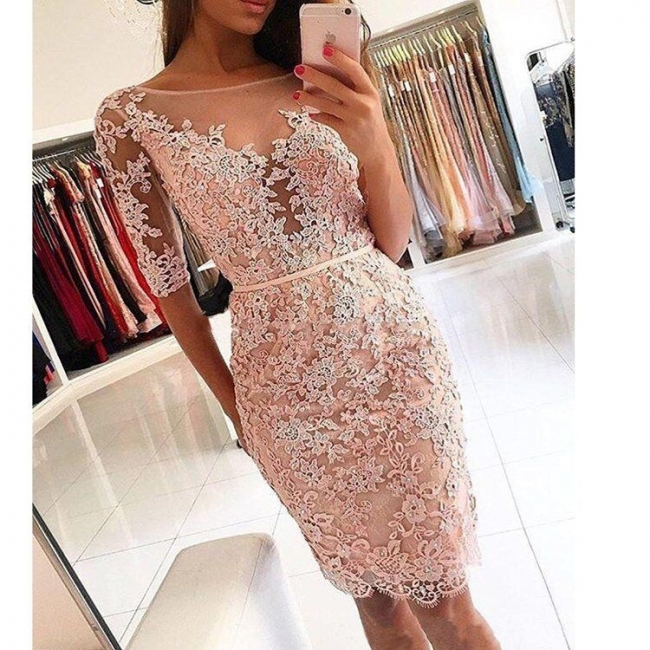 Chic Lace Sheath Homecoming Dresses | Scoop Half Sleeves Short Prom Dresses Knee Length