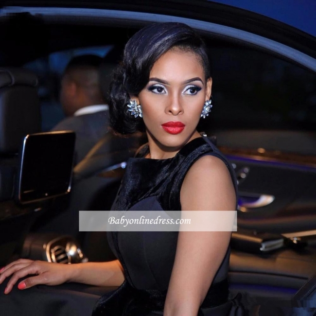Sleeveless Black Glamorous Sweep-Train Evening Dress 2018