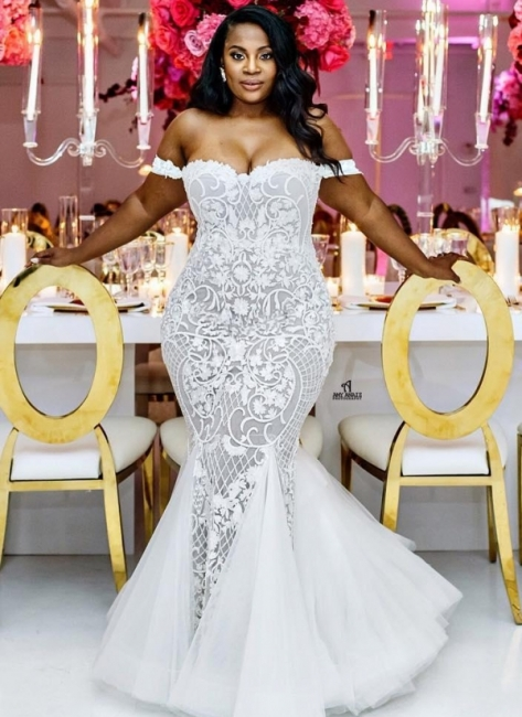 Modest Plus Size Wedding Dresses | Off-the-Shoulder Mermaid Bridal Gowns