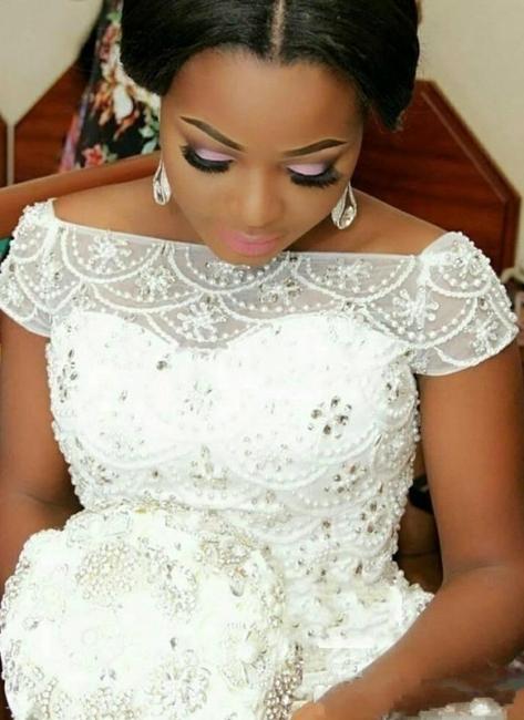 Luxury Beading Mermaid Wedding Dresses | Off-the-Shoulder Short Sleeves Bridal Gowns