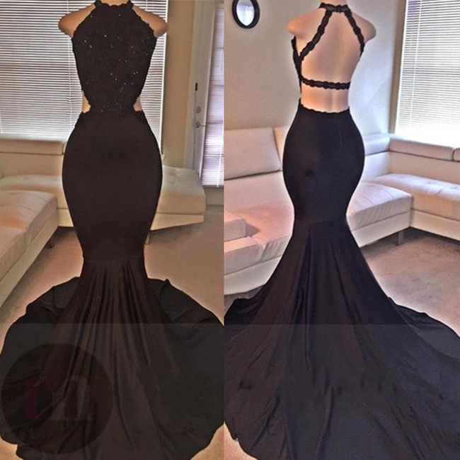Black Backless Mermaid Prom Dresses 2018 Long Lace Sleeveless Evening Gowns BA2666