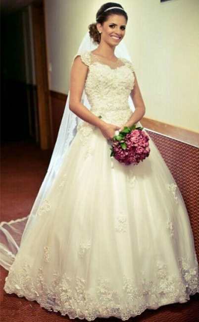 Princess Tulle Appliques Ball Cap-Sleeve Lace Gown Jewel Wedding Dress with Crystal-Belt