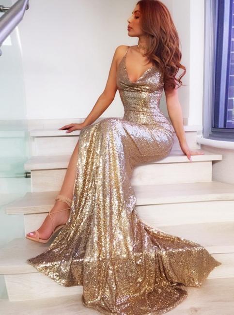 Sparkly Sequins Mermaid Evening Dresses | Spaghetti Straps Side-Slit Long Prom Dresses
