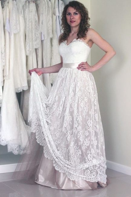 Simple Sweetheart strapless A-line Sleeveless Lace Sash Wedding Dress