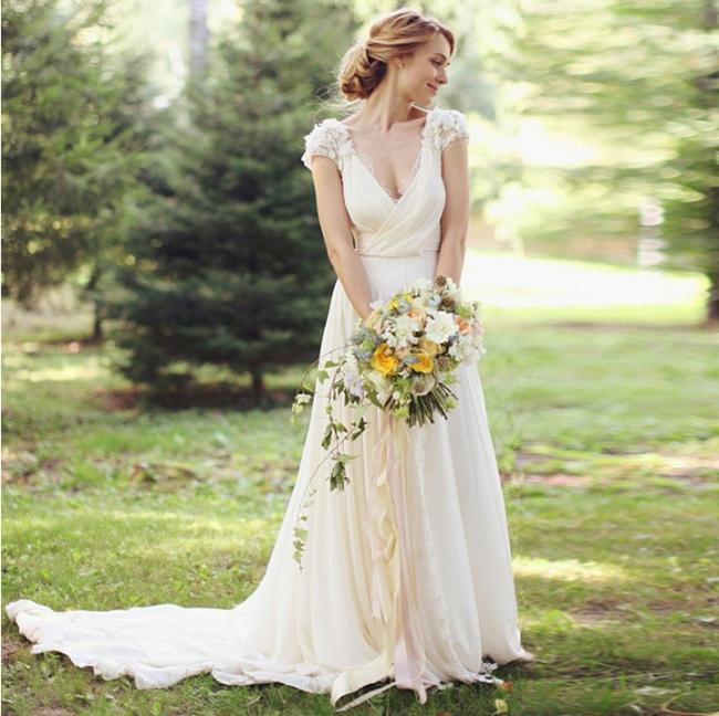 Chiffon Garden A-line V Neck Ruched with Handmade Flowers Beach Wedding Dresses