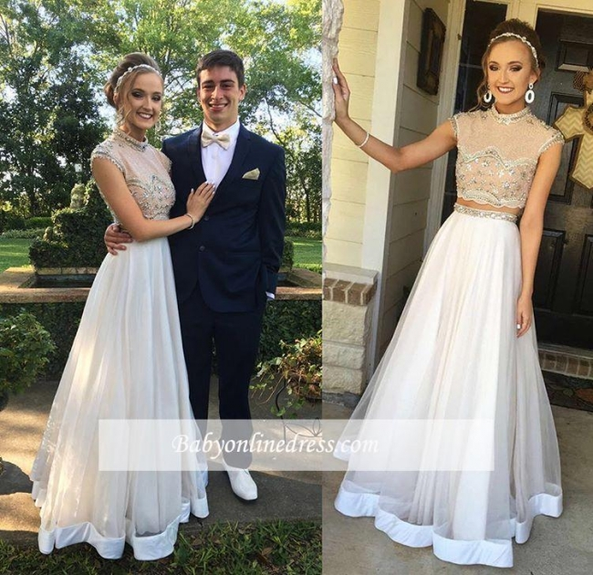 Newest Two-Piece Crystal Evening Gowns Cap-Sleeve A-line High Neck Prom Dress