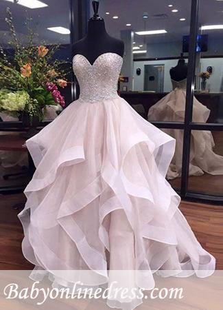 Ruffles Floor-Length Beadings Sweetheart Elegant Tulle Prom Dresses