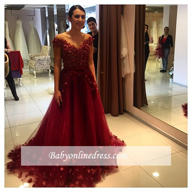 Formal Red Off-the-Shoulder Puffy 3D-Floral-Appliques 2018 Evening Gowns