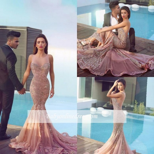 Sparkling Sheer Gorgeous Pink Sleeveless Mermaid Jewel Sequins Evening Dress