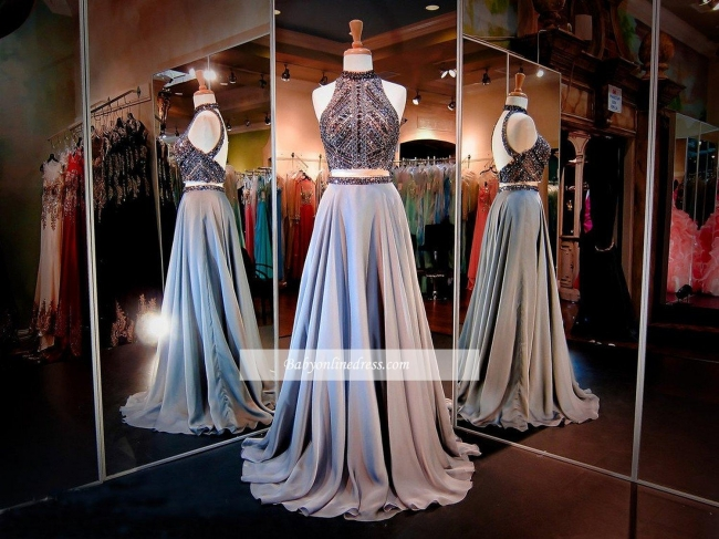 Sexy High-Neck Two-Piece Prom Dresses A-line Crystals Evening Dress